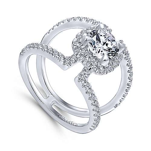 Soleil 14k White Gold Round Halo Engagement Ring angle 3