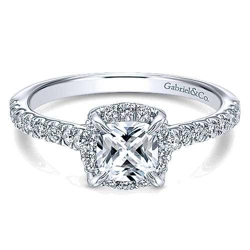 Somali 14k White Gold Cushion Cut Halo Engagement Ring angle 1