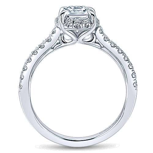 Somali 14k White Gold Cushion Cut Halo Engagement Ring angle 2
