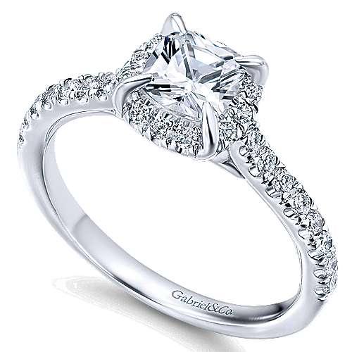Somali 14k White Gold Cushion Cut Halo Engagement Ring angle 3