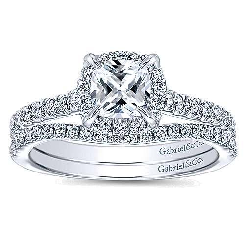 Somali 14k White Gold Cushion Cut Halo Engagement Ring angle 4