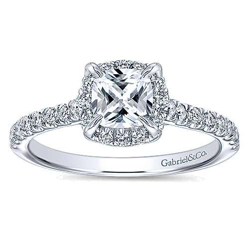 Somali 14k White Gold Cushion Cut Halo Engagement Ring angle 5