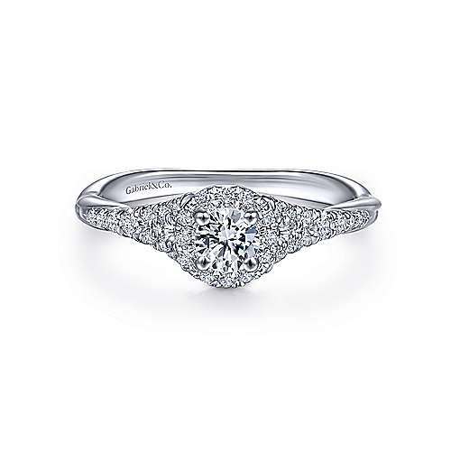 Gabriel - Sonoma 14k White Gold Round Halo Engagement Ring