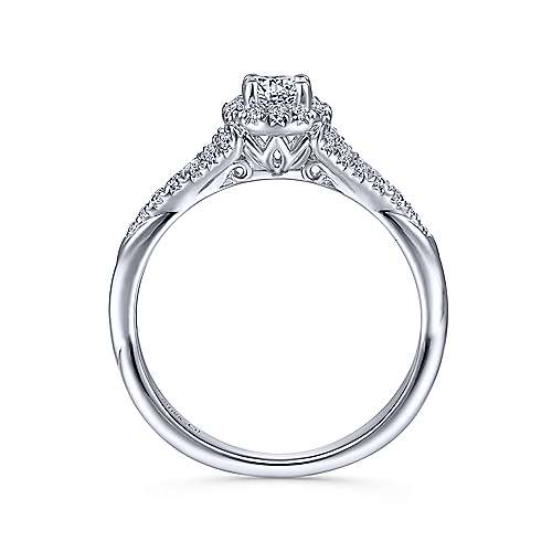 Sonoma 14k White Gold Round Halo Engagement Ring angle 2