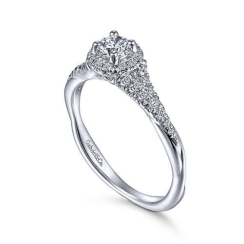 Sonoma 14k White Gold Round Halo Engagement Ring angle 3