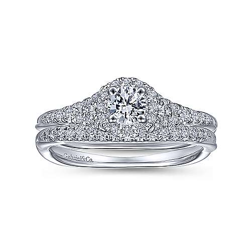 Sonoma 14k White Gold Round Halo Engagement Ring angle 4
