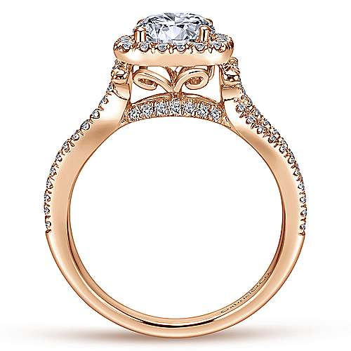 Sonya 14k Pink Gold Round Halo Engagement Ring angle 2