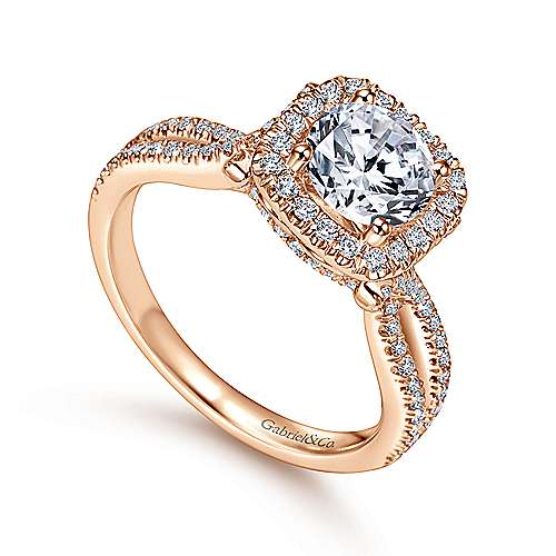 Sonya 14k Pink Gold Round Halo Engagement Ring angle 3