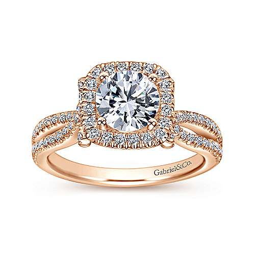 Sonya 14k Pink Gold Round Halo Engagement Ring angle 5