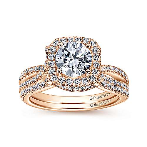 Sonya 14k Rose Gold Round Halo Engagement Ring angle 4