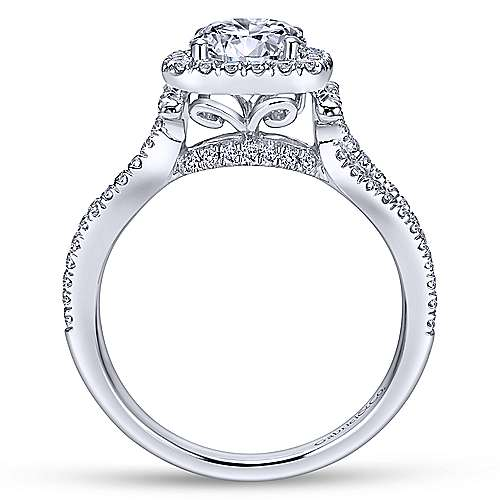 Sonya 14k White Gold Round Halo Engagement Ring angle 2
