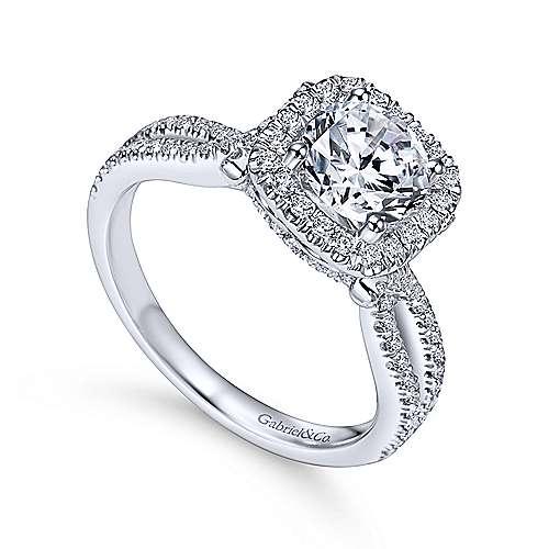 Sonya 14k White Gold Round Halo Engagement Ring angle 3