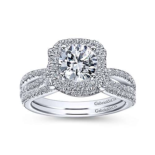 Sonya 14k White Gold Round Halo Engagement Ring angle 4