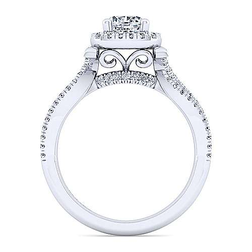 Sonya 14k White Gold Round Halo Engagement Ring angle 2