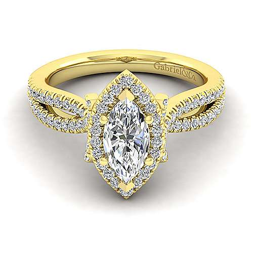 Sonya 14k Yellow Gold Marquise  Halo Engagement Ring angle 1