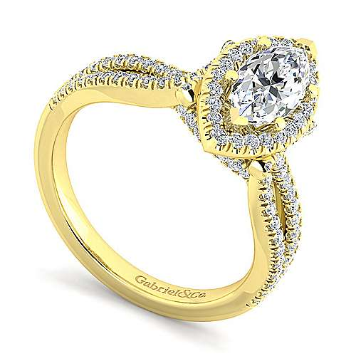 Sonya 14k Yellow Gold Marquise  Halo Engagement Ring angle 3