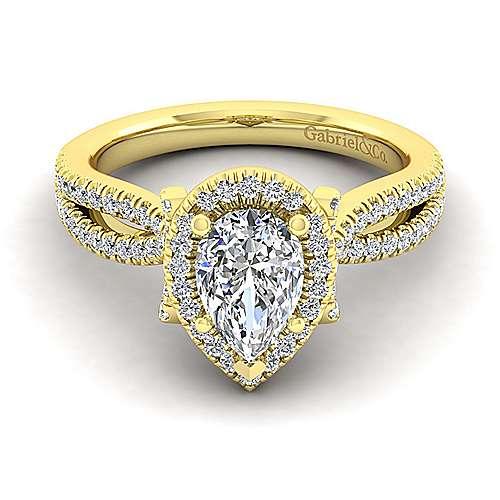 Sonya 14k Yellow Gold Pear Shape Halo Engagement Ring angle 1