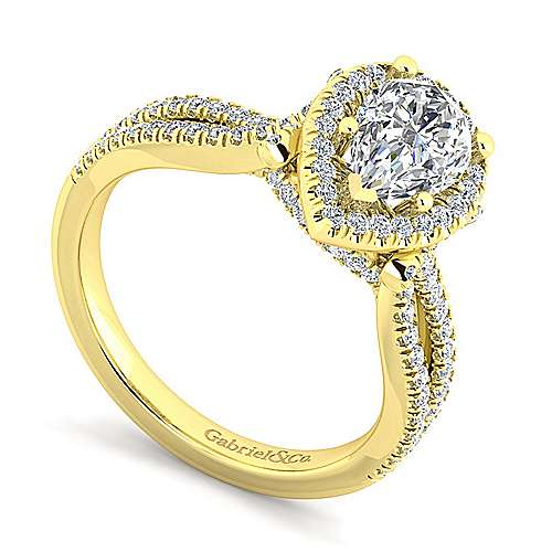 Sonya 14k Yellow Gold Pear Shape Halo Engagement Ring angle 3