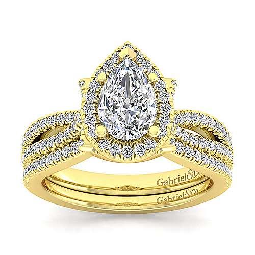 Sonya 14k Yellow Gold Pear Shape Halo Engagement Ring angle 4