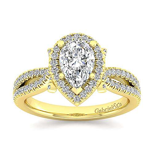 Sonya 14k Yellow Gold Pear Shape Halo Engagement Ring angle 5
