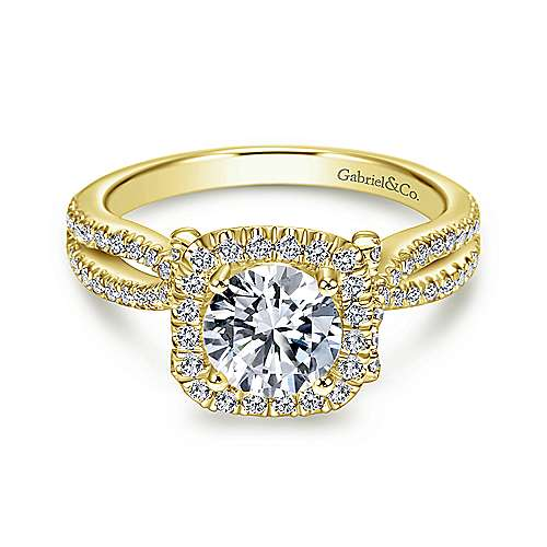 Sonya 14k Yellow Gold Round Halo Engagement Ring angle 1