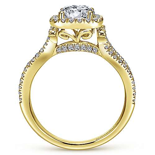 Sonya 14k Yellow Gold Round Halo Engagement Ring angle 2
