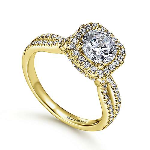 Sonya 14k Yellow Gold Round Halo Engagement Ring angle 3