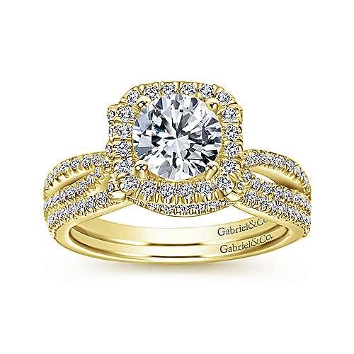 Sonya 14k Yellow Gold Round Halo Engagement Ring angle 4