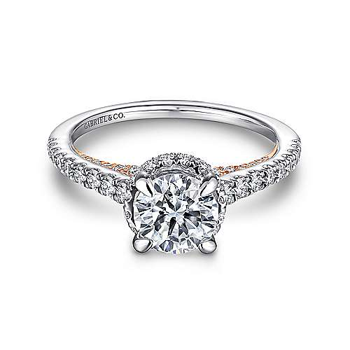 Gabriel - Sophia 14k White And Rose Gold Round Straight Engagement Ring