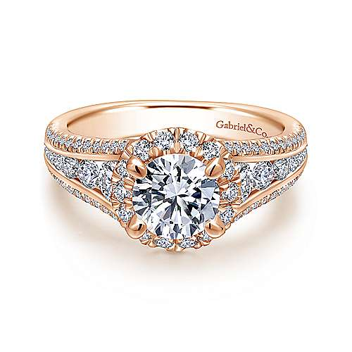 Gabriel - Sorrel 14k Rose Gold Round Halo Engagement Ring