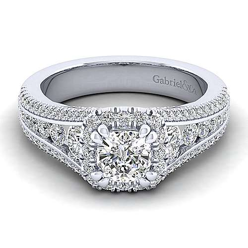 Gabriel - Sorrel 14k White Gold Cushion Cut Halo Engagement Ring