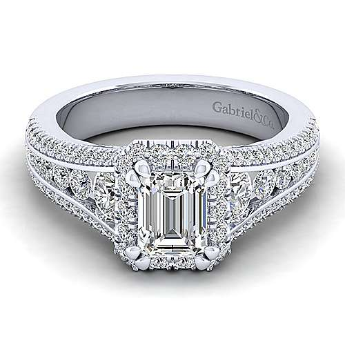 Gabriel - Sorrel 14k White Gold Emerald Cut Halo Engagement Ring