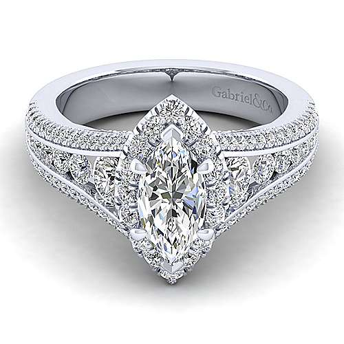 Gabriel - Sorrel 14k White Gold Marquise  Halo Engagement Ring