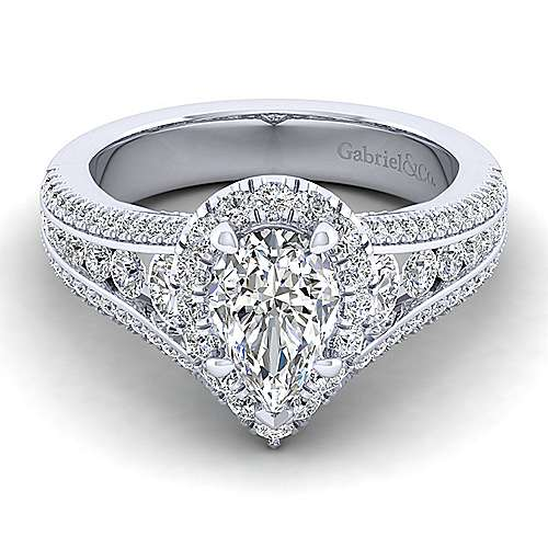 Gabriel - Sorrel 14k White Gold Pear Shape Halo Engagement Ring