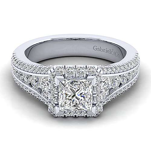 Gabriel - Sorrel 14k White Gold Princess Cut Halo Engagement Ring