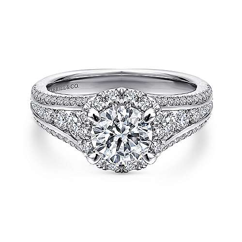 Gabriel - Sorrel 14k White Gold Round Halo Engagement Ring