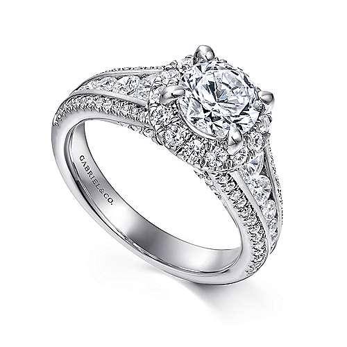 Sorrel 14k White Gold Round Halo Engagement Ring angle 3