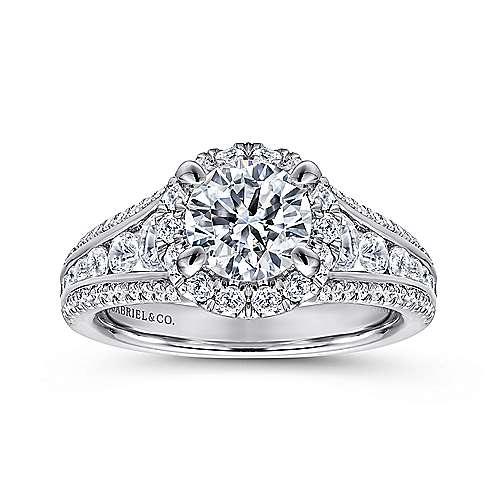 Sorrel 14k White Gold Round Halo Engagement Ring angle 5