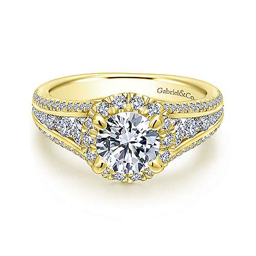 Gabriel - Sorrel 14k Yellow Gold Round Halo Engagement Ring