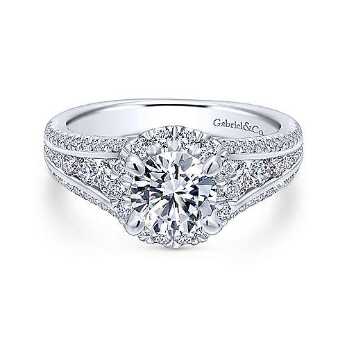 Gabriel - Sorrel 18k White Gold Round Halo Engagement Ring