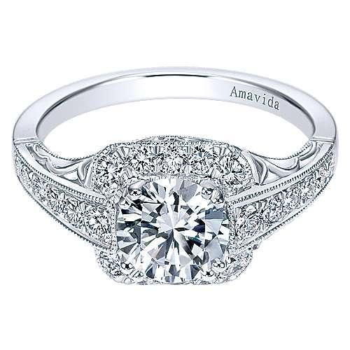 Gabriel - Spice Platinum Round Halo Engagement Ring