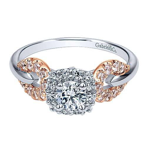 Gabriel - Spirit 14k White And Rose Gold Round Halo Engagement Ring