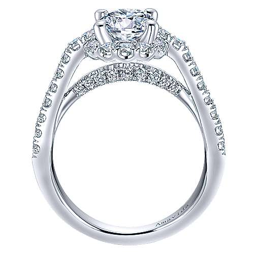 Spouse 18k White Gold Round Halo Engagement Ring
