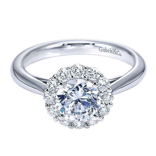 Gabriel - Spring 14k White Gold Round Halo Engagement Ring