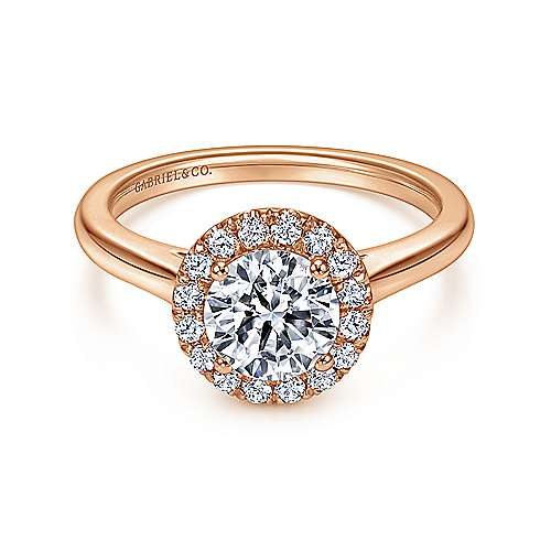 Gabriel - Stacy 14k Pink Gold Round Halo Engagement Ring