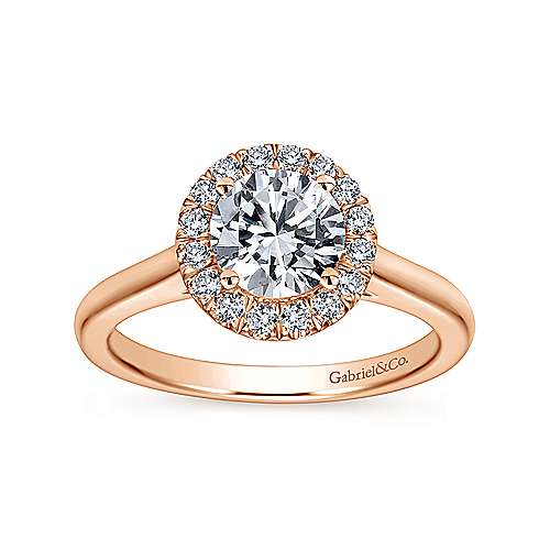 Stacy 14k Rose Gold Round Halo Engagement Ring angle 5