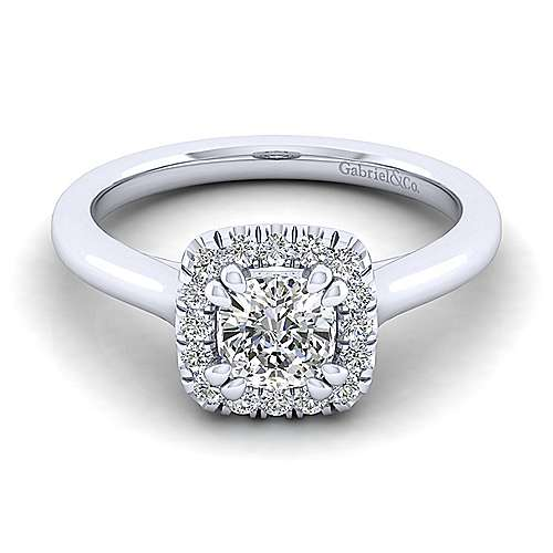 Gabriel - Stacy 14k White Gold Cushion Cut Halo Engagement Ring