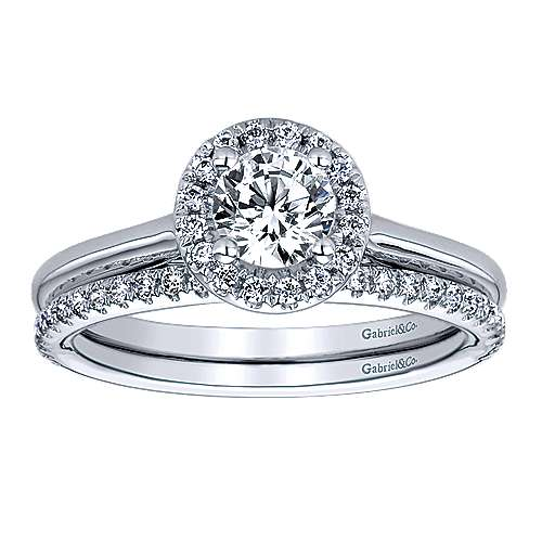 Stacy 14k White Gold Round Halo Engagement Ring angle 4
