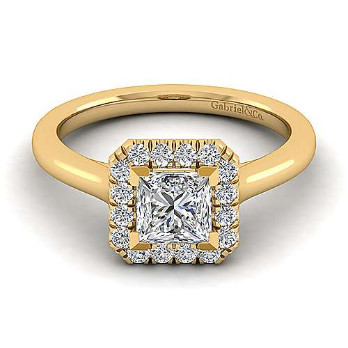 Stacy 14k Yellow Gold Princess Cut Halo Engagement Ring angle 1