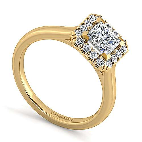 Stacy 14k Yellow Gold Princess Cut Halo Engagement Ring angle 3